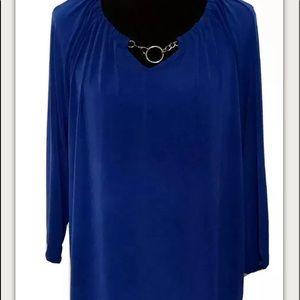 Dana Buchman Blue Long Sleeve Top Metal Accent XL